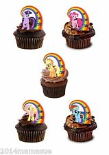 24 PRECORTADO MY LITTLE PONY ARCOIRIS FIGURA COMESTIBLE CUPCAKE OBLEA ARROZ