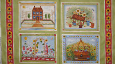 Windham Fabrics Gazebo Primitive Country House Garden Flower Cotton Fabric PANEL