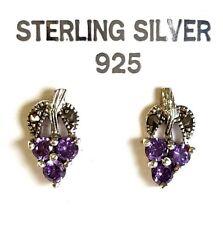 100% Genuine 925 Sterling Silver Vintage Marcasite Amethyst Stud Post Earrings