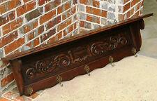 Antique French Dark Carved Oak LARGE Wall Shelf Coat Hat Copper Pot Rack Kitchen