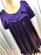 BB Dakota Size S Purple Overlay Party Dress Banded Baby Doll Ruffles