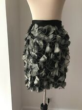 D&G Dolce & Gabbana $434 Black Silk Applications  Sewn on Pencil  Skirt Sz 40