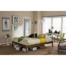 Bentley Mid-Century Modern Walnut Finishing Solid Wood Queen Size Bed Frame NEW