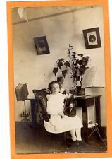 Real Photo Postcard RPPC Girl & Violin Music & Dictionary Stands Music Musician