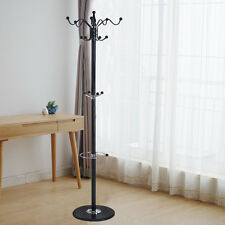 "15 Hooks 70"" Metal Coat Hat Jacket Stand Tree Holder Hanger Rack w/ Marble"
