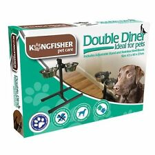 Double Stainless Steel Pet Dog Food Water Bowls with Adjustable Height &Stand UK