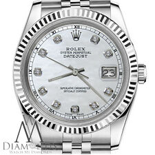 Man`s Rolex 36mm Datejust White MOP Mother of Pearl Diamond Dial Watch