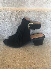 RIVER ISLAND Tassel Peep Toe Heels Shoes Size 6 (39) Buckle Fasten