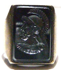 X-LARGE ANTIQUE OLD 900 SILVER MENS INTAGLIO WARRIOR RECTANGLE SHIELD RING 8.25