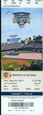 2011 Twins vs Orioles Ticket: Vladimir Guerrero 3 Hits-3 RBI/Nolan Reimold HR