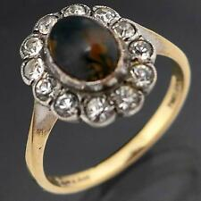 English Vintage AGATE & WHITE GEM HALO 9k GOLD & SILVER DRESS RING solid  Sz M