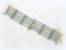 $59 NWT LUCKY BRAND LUCKY LAYERS MULTI ROW TURQUOISE FEATHER  BRACELET SILVER