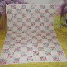 "VINTAGE Baby DOLL hand quilt white & floral Blanket 33"" X 25""  good condition"