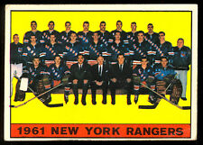 1961-62 TOPPS HOCKEY #63 N Y NEW YORK RANGERS TEAM CARD with Ratelle Rod Gilbert