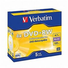 5 VERBATIM DVD+RW DVDRW 4x SPEED 4.7GB REWRITABLE BLANK DVD DISCS