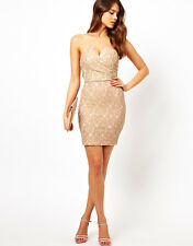 TFNC Beige Bodycon Dress in Lace Party Ocassion Size  M/UK12