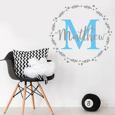 Personalise Initial & Baby Boy Name Nursery Room Mural Sticker Vinyl Decal Decor