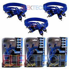 Three (3) Stinger SI626 RCA Interconnect Audio Cable 6ft for 6-Channel Install