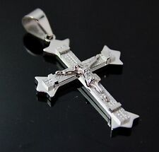 New Men's Stainless Steel Classic Large Silver Glitter Jesus Cross Pendant charm