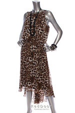 NEW MSK Women Animal Print Elastic Waist Belted Shift Dress Brown OffWhite 18W