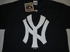 New York Yankees Logo Majestic Cooperstown Collection Blue T-Shirt Mens XL NWT