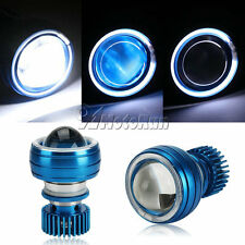Hi/Low Beam 12V LED Projector Headlight For Motorcycle Angel Eye Blue Devil Eye