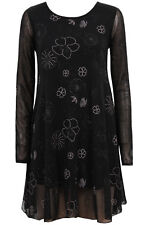 New-Black Fine Net Mini Swing Dress-Gold Flower and Star Design-Long Sleeves-14