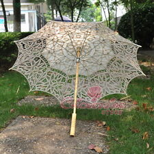 New Ivory Battenburg Lace Pure Cotton Embroidery Wedding Umbrella Bridal Parasol