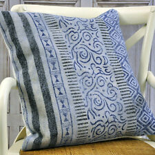 Blue Geometric Traditional Kilim Ethnic Aztec Cushion Cover with Filler 50x50cm