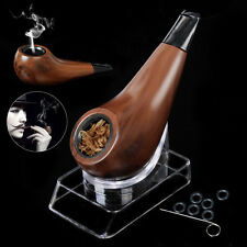 Mini Vogue Shiny Short Wooden Tobacco Herb Cigarettes Cigar Smoking Pipe +Stand