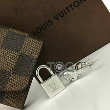 RARE Louis Vuitton Mens 925 Sterling Silver LV Logo Padlock Key Cufflinks Pouch