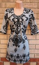 IZABEL BLACK GREY PAISLEY PRINT JUMPER WARM WINTER MINI TUNIC TOP DRESS S 8 10