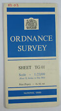 1960 old vintage OS Ordnance Survey 1:25000 First Series map TG 01 Hockering