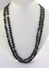 Vintage black plastic round disk bead flapper length retro cool necklace 44""