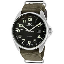 Glycine Men's 3890.19AT.TB2 Combat 6 Automatic Black Dial Green Strap Watch
