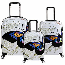 """New White 20/24/28"""" Set Butterfly Print PC Spinner Suitcase Travel Luggage Bag"""