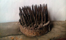 rare Romanian primitive flax heckle hemp wool comb teasel tool 1800s metal teeth