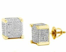 Men's 14K Gold Finish Silver 925 Iced-Out 8.5mm CZ Square Cube Earring Screw Bk