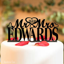 Mr and Mrs Wedding Cake Topper Decorations Personalised Toppers Surname Date MM1