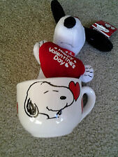 SNOOPY HAPPY VALENTINES DAY CERAMIC SOUP MUG with CLIP ON PLUSH DOLL mint cond!!