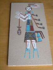 Vintage Navajo Diné Indian Sand Painting Yei Bi Chei Holy Girl Panel 8x16 Signed