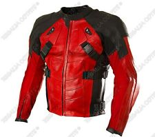 Deadpool Wade Wilson Ryan Reynolds Red Motorbike CE Armoured Leather jacket