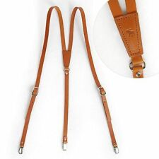 "Leder Hosenträger Leather Suspenders Y-Back Retro Braces Clip-On Brown 49""~52"""