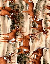 BUCK DEER  FABRIC BY THE YARD COTTON