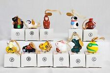 Total of 11 Tiny Chinese painted clay animals (#10 is missing) cat,dog,rat,etc