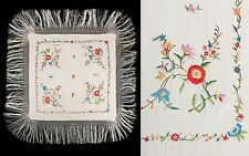 VTG 1920s IVORY MULTI-COLOR CHINESE FLORAL SILK EMBROIDERED FRINGE PIANO SHAWL