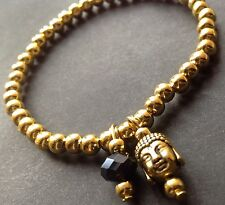 Bijoux Gold Buddha Head And Black Crystal stretch bracelet Boho Gypsy Festival