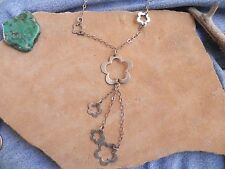 "Sterling Silver .925 FLOWER & Chain ""Y"" Necklace 18"" Taxco Mexico or Thailand"