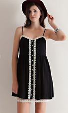 ENTRO Womens Size Small Black Babydoll Crochet Lace Placket Button Down Dress S