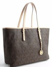 NWT*MICHAEL KORS JET SET TRAVEL MONOGRAM MK LOGO BROWN TOTE BAG PURSE MD $248!